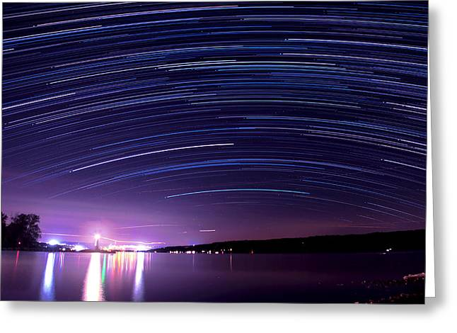 Taughannock Falls State Park Greeting Cards - Starry night on Cayuga Lake Greeting Card by Paul Ge