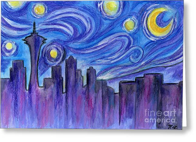 Seattle Skyline Mixed Media Greeting Cards - Starry Night Over Seattle Greeting Card by Roz Abellera Art