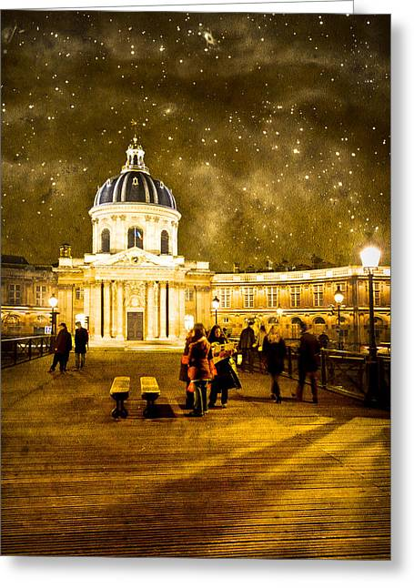 Paris At Night Greeting Cards - Starry Night Over the Institut de France Greeting Card by Mark Tisdale