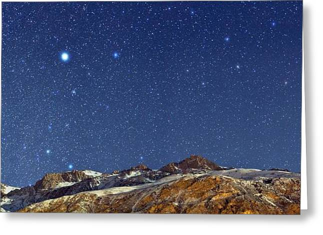 Snowy Night Night Greeting Cards - Starry night Greeting Card by Science Photo Library
