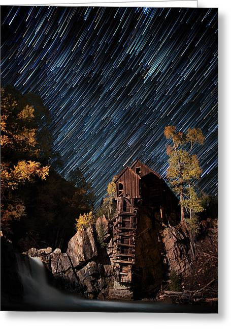 Pleiades Greeting Cards - Starry Night Star Trails At The Crystal River Mill Greeting Card by Mike Berenson