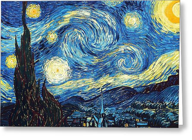 Vince Paintings Greeting Cards - Starry Night Greeting Card by Timeless Collections