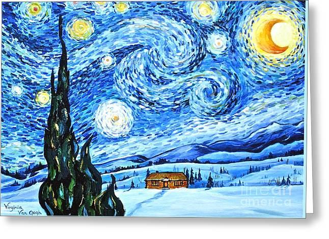Starry Night In The Rockies Greeting Card by Virginia Ann Hemingson