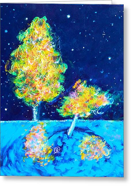 Starry Night With Almost Solitary Tree Greeting Card by Ion vincent DAnu