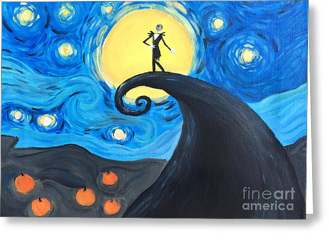 Van Gogh Style Greeting Cards - Starry Nightmare Before Christmas  Greeting Card by Ashley Bates