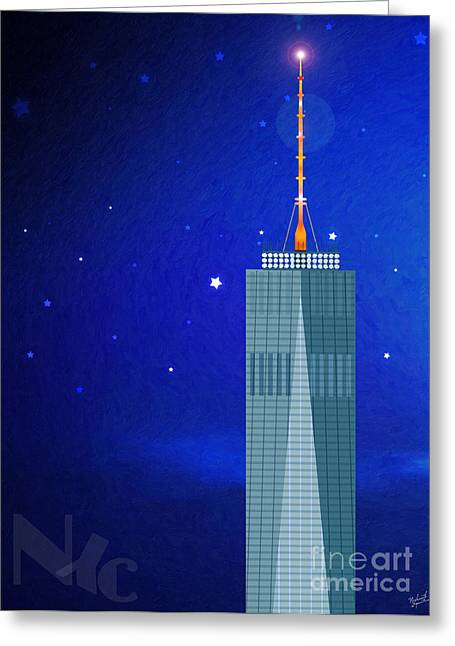 World Trade Centre Greeting Cards - Starry Nights - WTC One Greeting Card by Nishanth Gopinathan