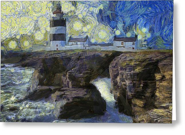 Dap Greeting Cards - Starry Hook Head Lighthouse Greeting Card by Nigel R Bell