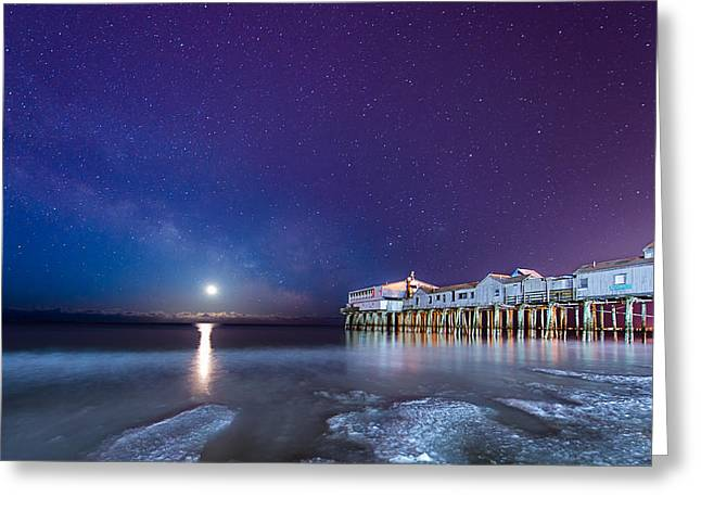 Maine Beach Greeting Cards - Starry Starry Ice Greeting Card by Michael Blanchette