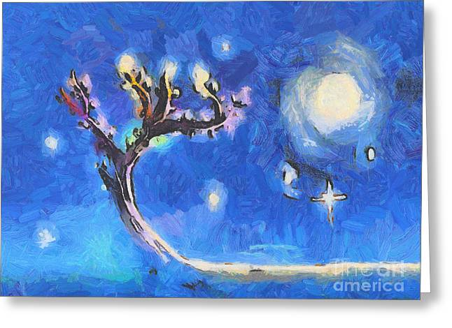 Hippy Greeting Cards - Starry tree Greeting Card by Pixel  Chimp