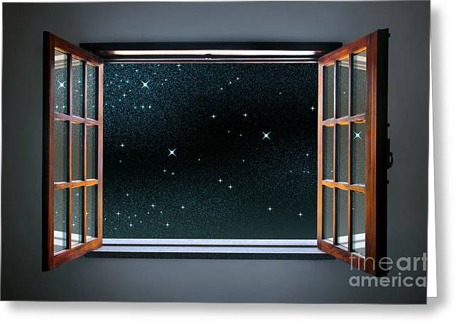 Way Home Greeting Cards - Starry Window Greeting Card by Carlos Caetano