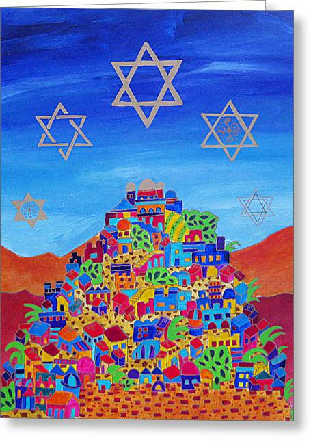 Shemini Atzeret Greeting Cards - Stars Above Jerusalem Greeting Card by Dawnstarstudios