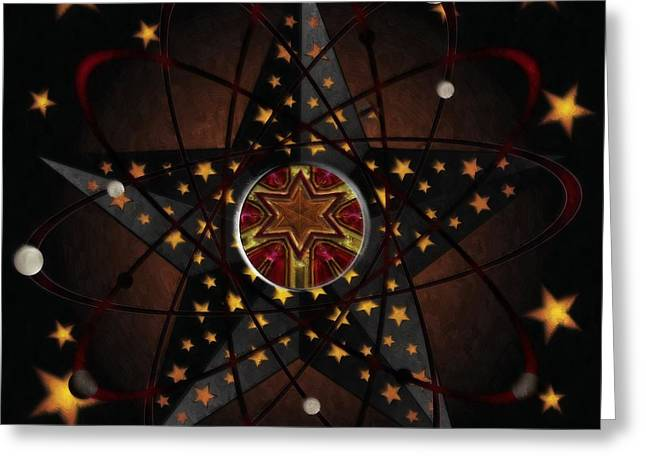 Daubs Greeting Cards - Stars and Atoms Abstract Greeting Card by Liane Wright