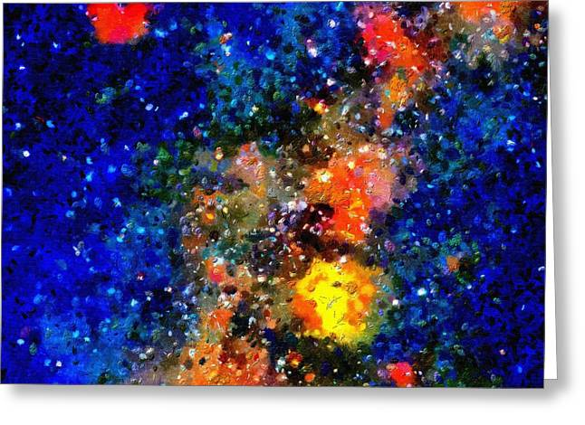Outer Space Paintings Greeting Cards - Stars and auroras Greeting Card by Magomed Magomedagaev
