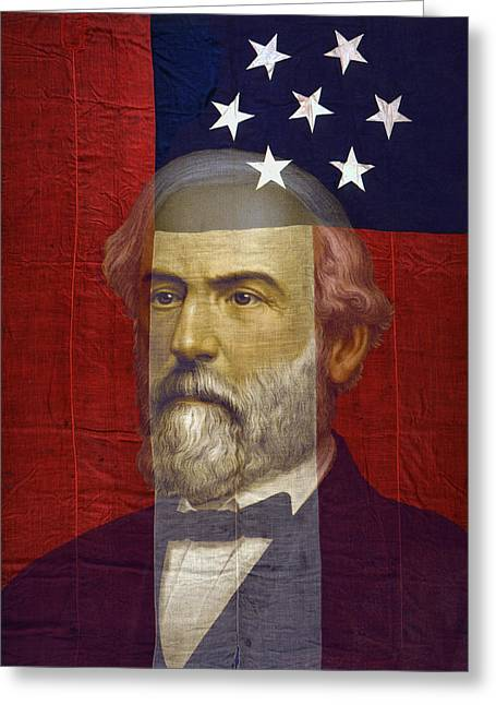 Confederate Flag Greeting Cards - STARS and BARS GENERAL LEE Greeting Card by Daniel Hagerman