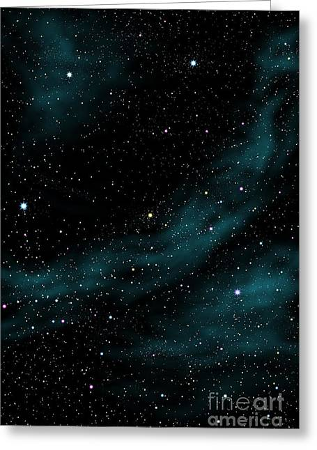 Particles Greeting Cards - Stars And Cloud Greeting Card by Atiketta Sangasaeng