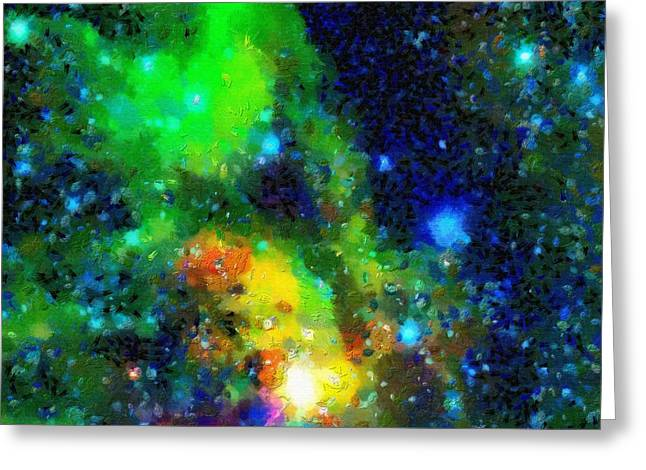 Outer Space Paintings Greeting Cards - Stars and nebulas Greeting Card by Magomed Magomedagaev
