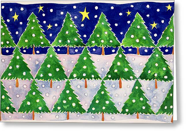 Christmas Tree Greeting Cards - Stars and Snow Greeting Card by Cathy Baxter