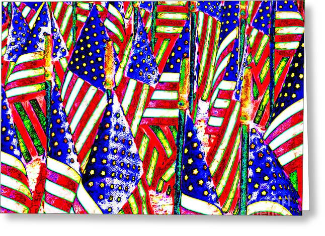 4th July Digital Greeting Cards - Stars and Stripes 20140821 horizontal Greeting Card by Wingsdomain Art and Photography