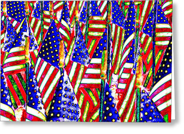 4th July Digital Greeting Cards - Stars and Stripes 20140821 square Greeting Card by Wingsdomain Art and Photography