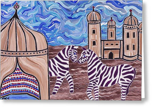 Zebra In Acrylic Greeting Cards - Stars and Stripes Greeting Card by Barbara St Jean