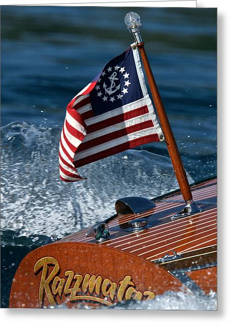 Mahogany Red Greeting Cards - Stars and Stripes Ensign Greeting Card by Steven Lapkin