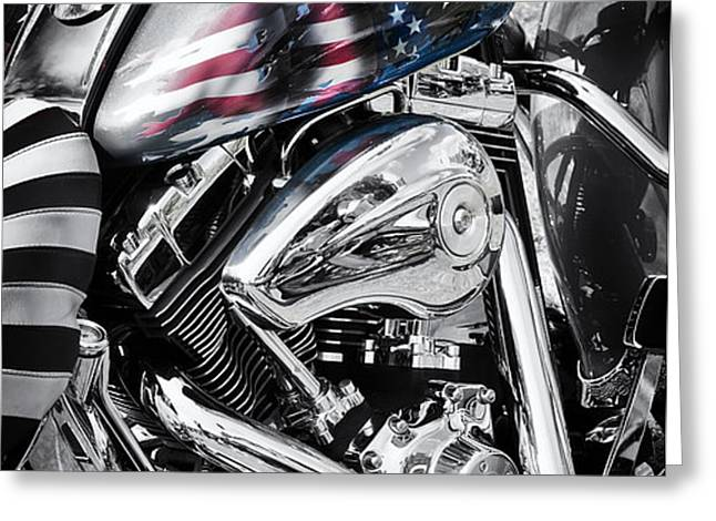 Stars and Stripes Harley  Greeting Card by Tim Gainey