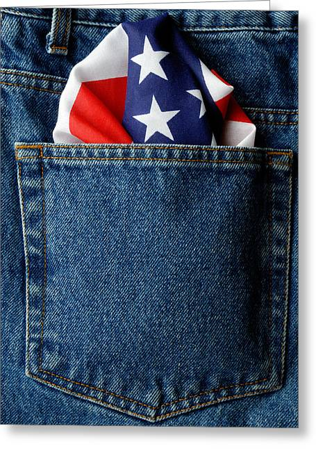 Norman Pogson Greeting Cards - Stars And Stripes In A Jeans Pocket Greeting Card by Norman Pogson