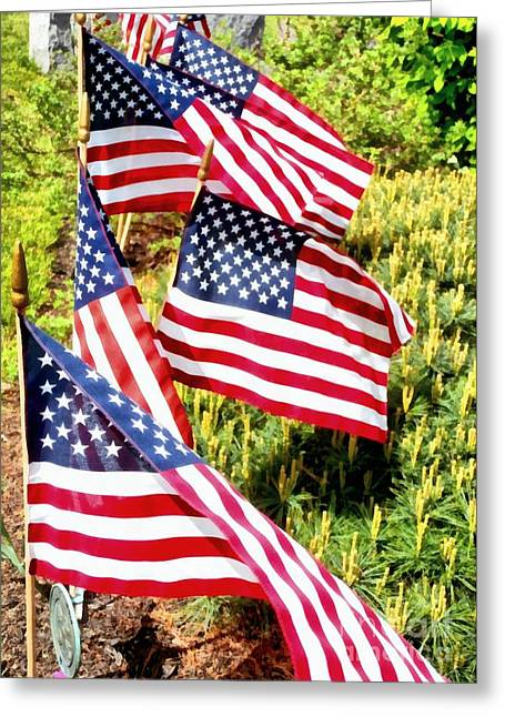 Flag Day Mixed Media Greeting Cards - Stars and Stripes Greeting Card by Janine Riley