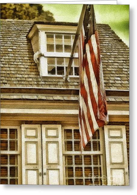 Patrotic Greeting Cards - Stars and Stripes Greeting Card by Mo T
