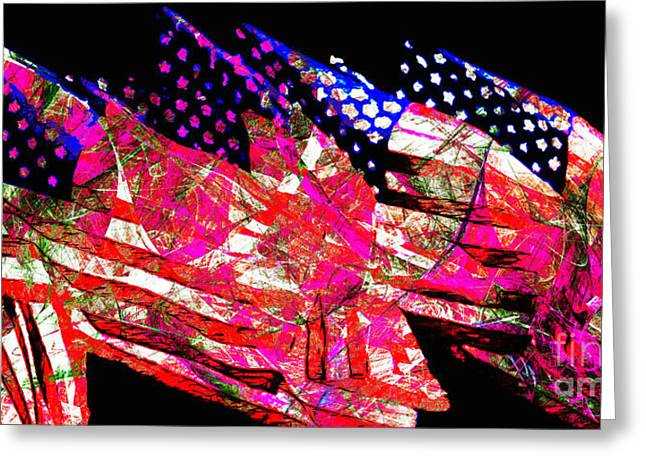 Made In The Usa Digital Greeting Cards - Stars and Stripes of America Land of The Free 20150828 Long Greeting Card by Wingsdomain Art and Photography