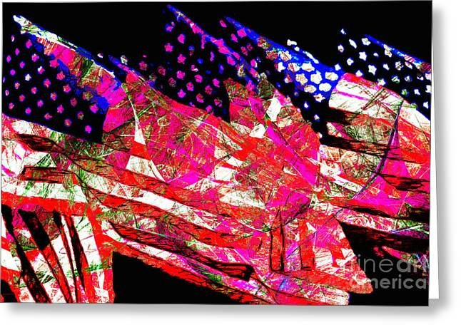 Made In The Usa Digital Greeting Cards - Stars and Stripes of America Land of The Free 20150828 Greeting Card by Wingsdomain Art and Photography