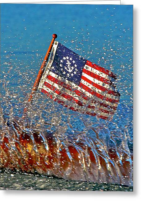 Mahogany Greeting Cards - Stars and Stripes on the Water Greeting Card by Steven Lapkin