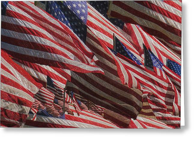 Rectangles Greeting Cards - Stars And Stripes - Remembering Greeting Card by Jack Zulli