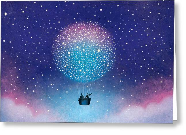 Roberto Mixed Media Greeting Cards - Stars Baloon Greeting Card by Roberto Weigand