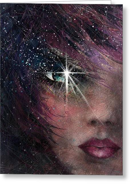 Hallucination Drawings Greeting Cards - Stars in her eyes Greeting Card by Rachel Christine Nowicki