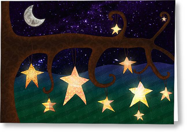 Moonlit Night Greeting Cards - Stars In Trees At Night Greeting Card by Cat Whipple