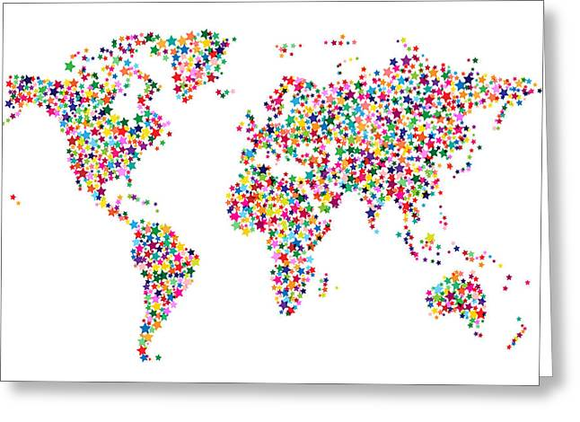 Abstract World Greeting Cards - Stars Map of the World Map Greeting Card by Michael Tompsett