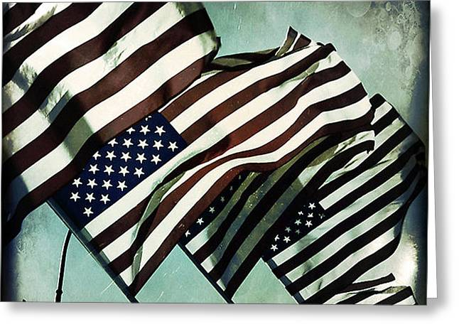 Stripes. Blowing Greeting Cards - Stars n  Stripes Greeting Card by Trish Mistric