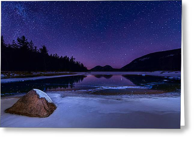 Jordan Pond Greeting Cards - Stars on Ice Greeting Card by Michael Blanchette
