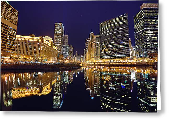 Stars Over Chicago Greeting Card by Nicholas Johnson