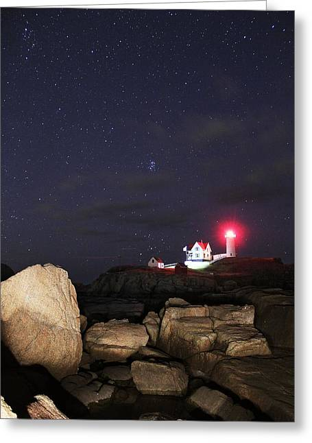 Cape Neddick Greeting Cards - Stars Over Nubble Lighthouse Greeting Card by Andrea Galiffi
