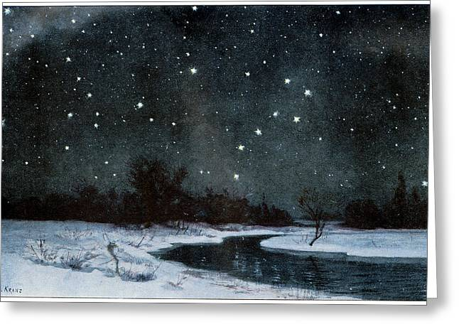Stars Over Snow Field Greeting Card by Cci Archives