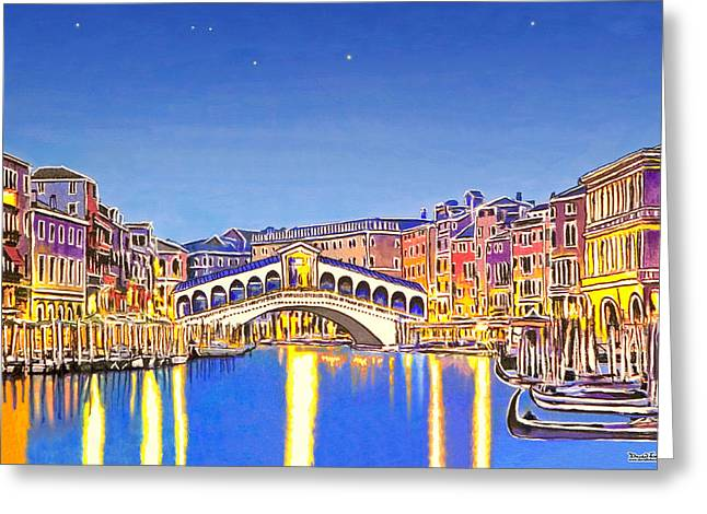 White River Pastels Greeting Cards - Stars over Venice Greeting Card by David Linton
