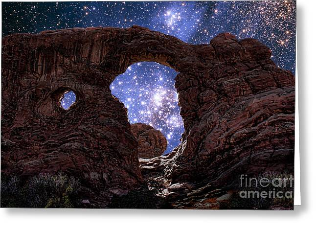 Utah Artwork Greeting Cards - Stars Through Arch Greeting Card by Mike Agliolo