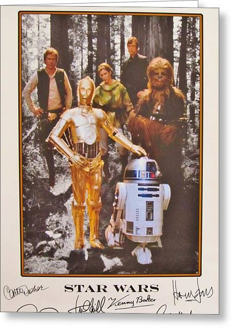 Autographed Photographs Greeting Cards - Stars Wars Autographed Movie Poster Greeting Card by Donna Wilson