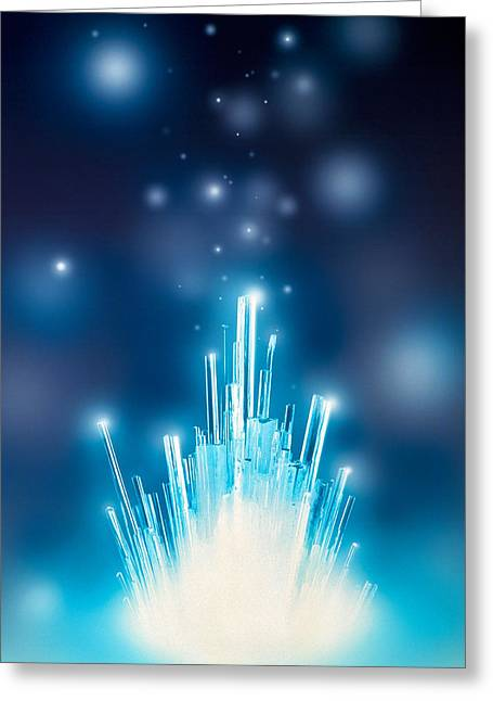 Bursting Greeting Cards - Stars With Trails Rising From Bright Greeting Card by Panoramic Images