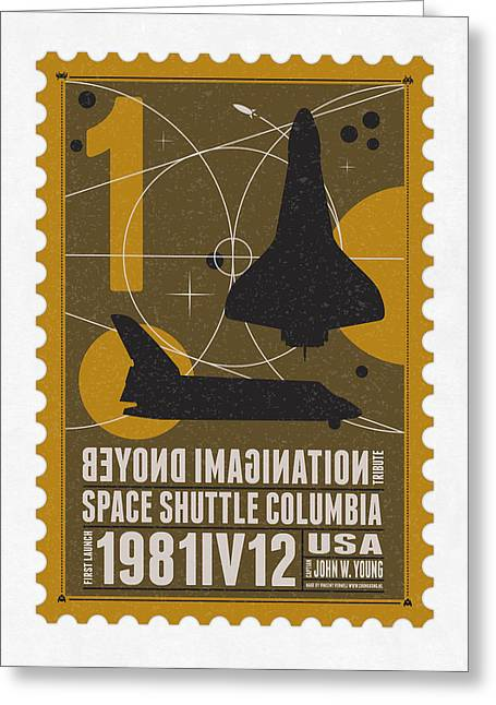 Science Fiction Greeting Cards - Starschips 01-poststamp - Spaceshuttle Greeting Card by Chungkong Art