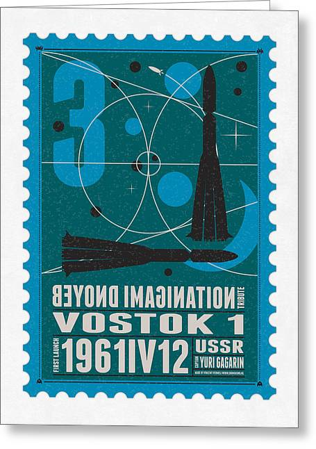 Science Fiction Greeting Cards - Starschips 03-poststamp - Vostok Greeting Card by Chungkong Art