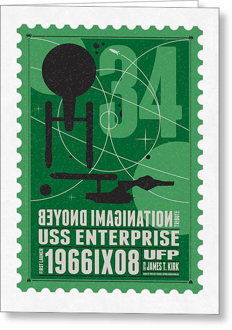 Science Fiction Greeting Cards - Starschips 34-poststamp - USS Enterprise Greeting Card by Chungkong Art