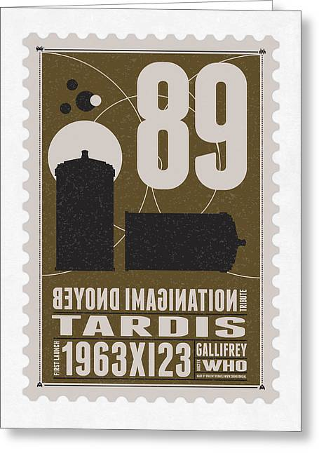 Science Fiction Greeting Cards - Starschips 89-BONUS-poststamp - DR WHO - TARDIS Greeting Card by Chungkong Art
